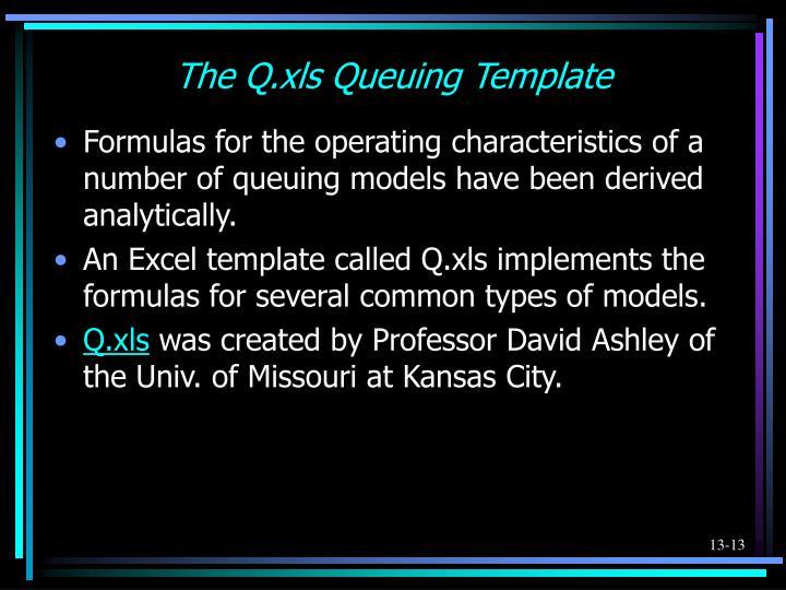 The Q.xls Queuing Template