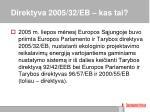 direktyva 2005 32 eb kas tai