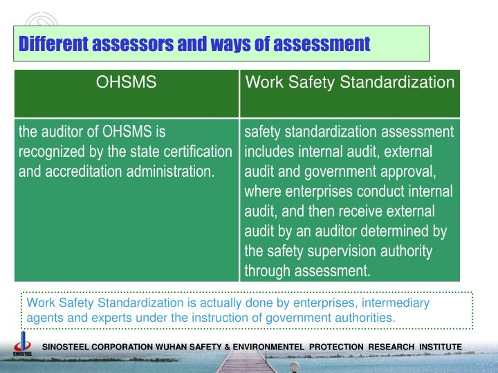 Different assessors and ways of assessment
