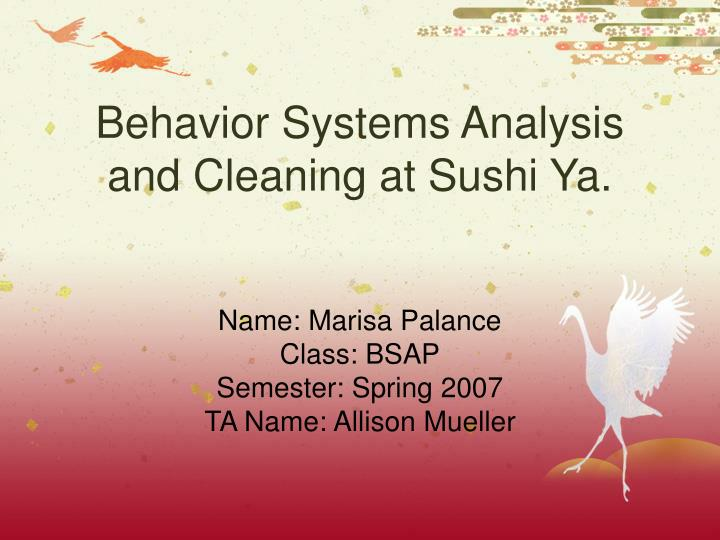 Behavior systems analysis and cleaning at sushi ya