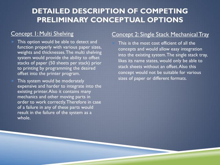 Detailed Description of Competing Preliminary Conceptual Options