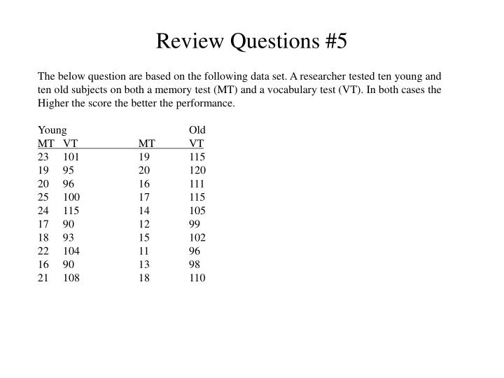 Review questions 5