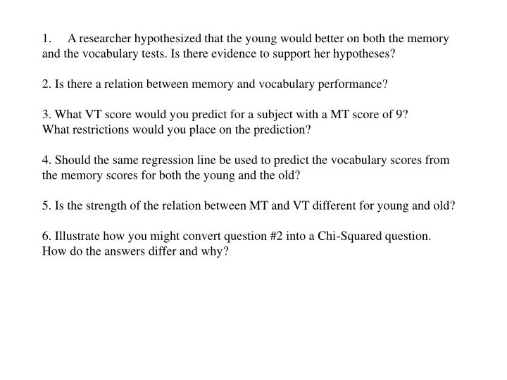 A researcher hypothesized that the young would better on both the memory