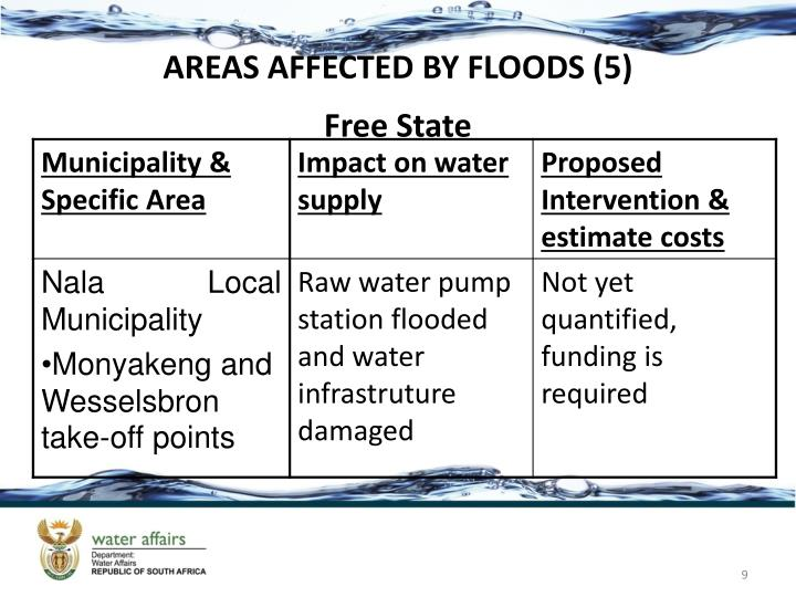 AREAS AFFECTED BY FLOODS (5)