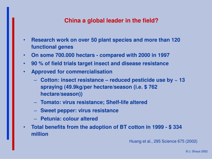 China a global leader in the field?