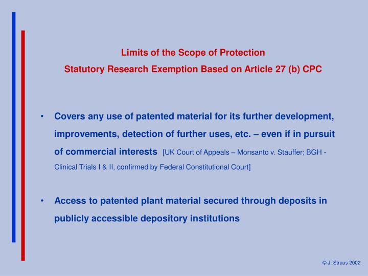 Limits of the Scope of Protection