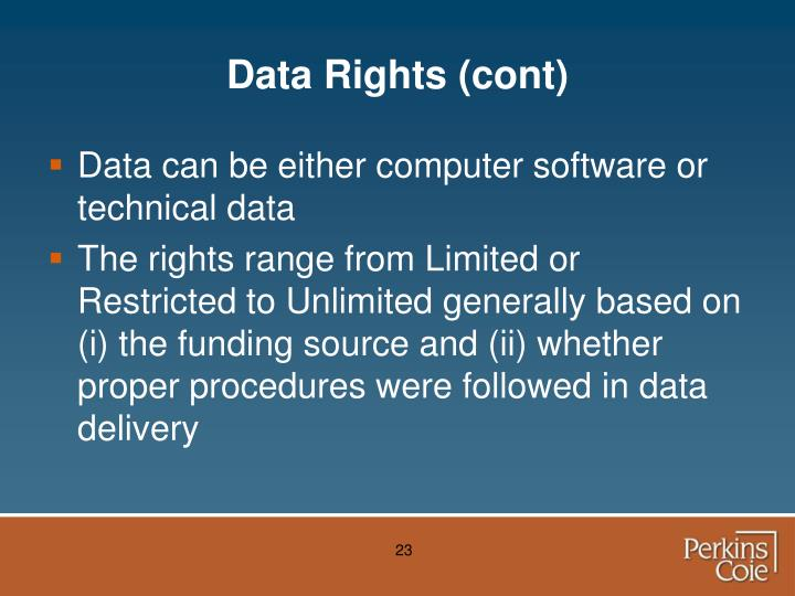 Data Rights (cont)