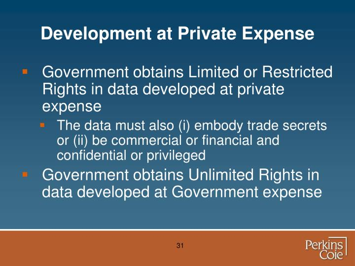 Development at Private Expense