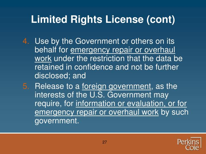 Limited Rights License (cont)