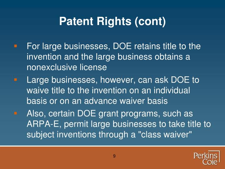 Patent Rights (cont)