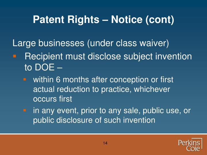 Patent Rights – Notice (cont)