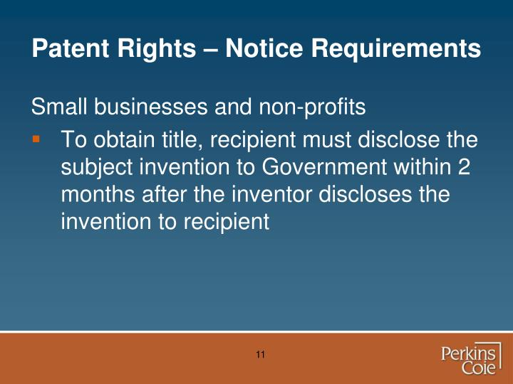 Patent Rights – Notice Requirements
