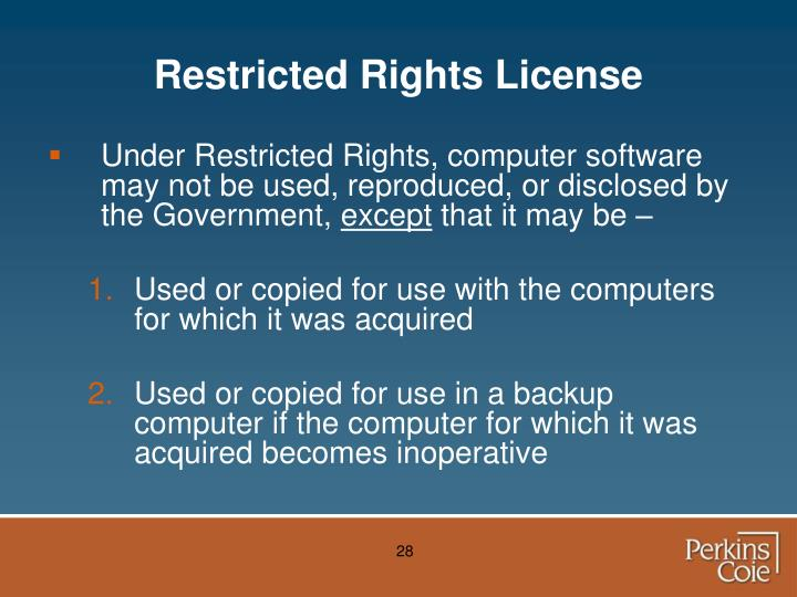 Restricted Rights License