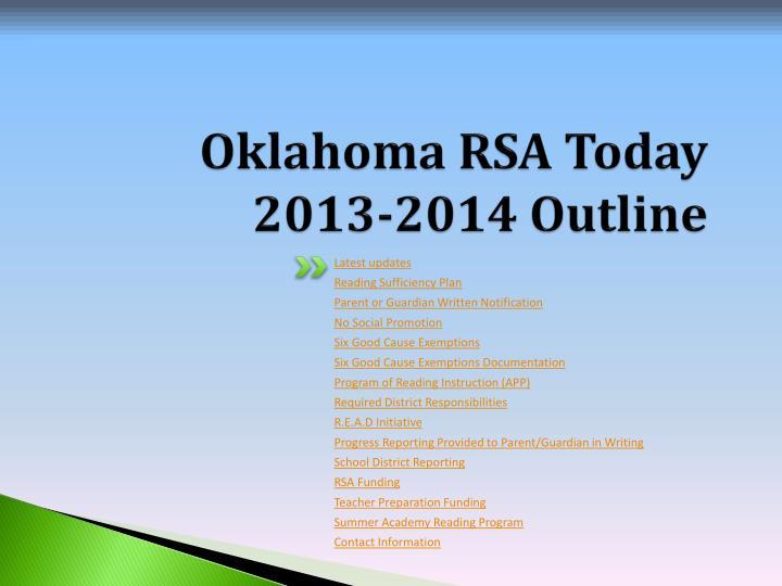 Oklahoma rsa today 2013 2014 outline