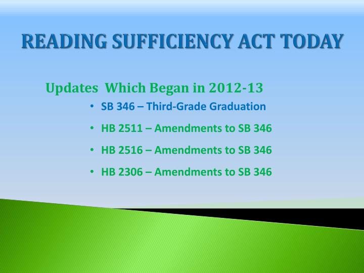 Reading sufficiency act today