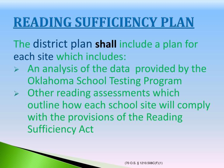 READING SUFFICIENCY PLAN