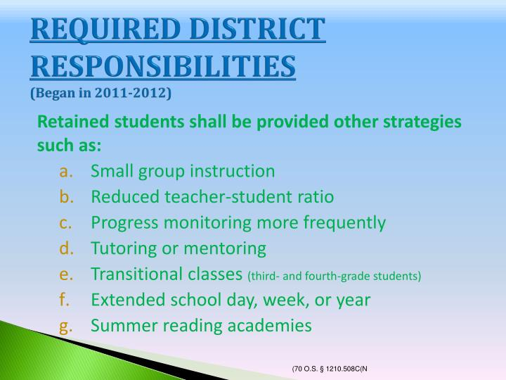 REQUIRED DISTRICT RESPONSIBILITIES