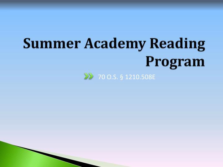 Summer Academy Reading Program