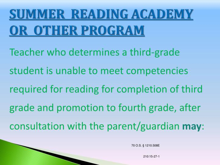 SUMMER  READING ACADEMY OR  OTHER PROGRAM