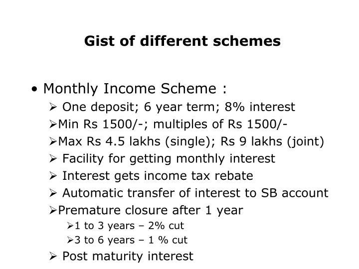 Gist of different schemes