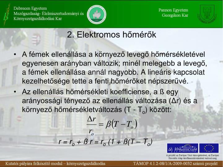 2. Elektromos hőmérők