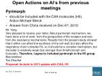 open actions on ai s from previous meetings