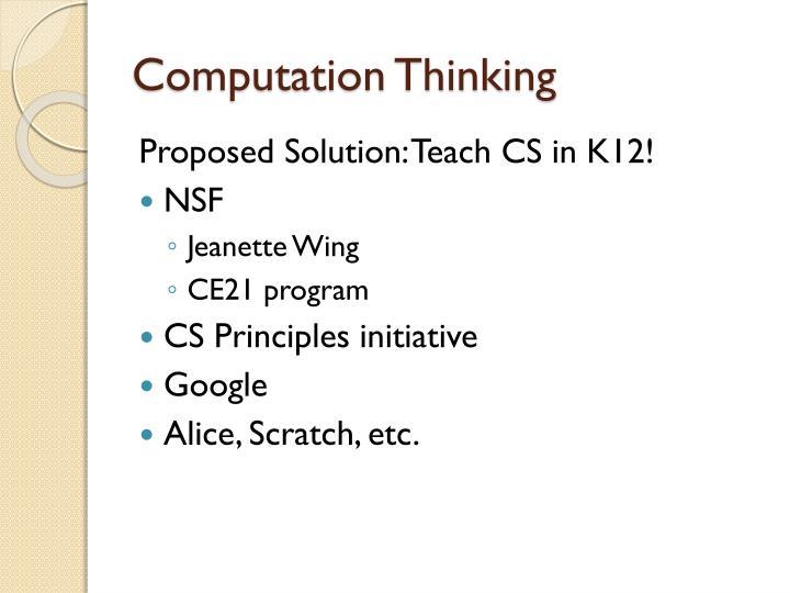 Computation Thinking