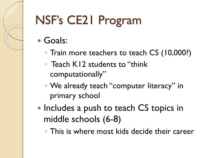 NSF's CE21 Program