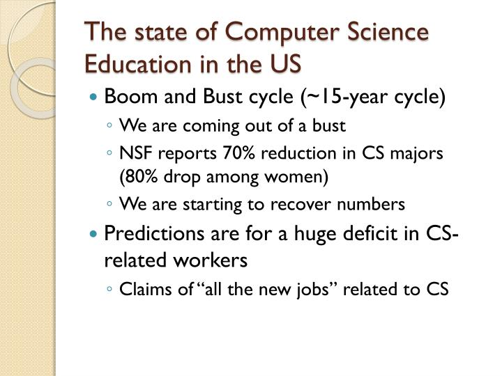 The state of Computer Science Education in the US