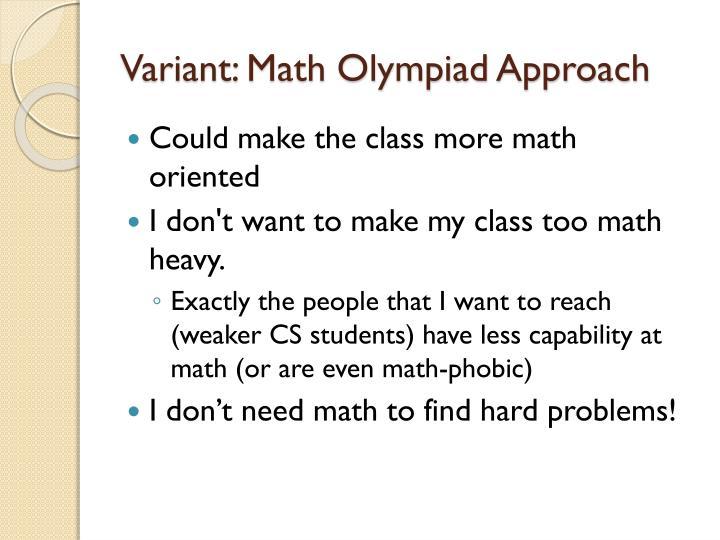 Variant: Math Olympiad Approach