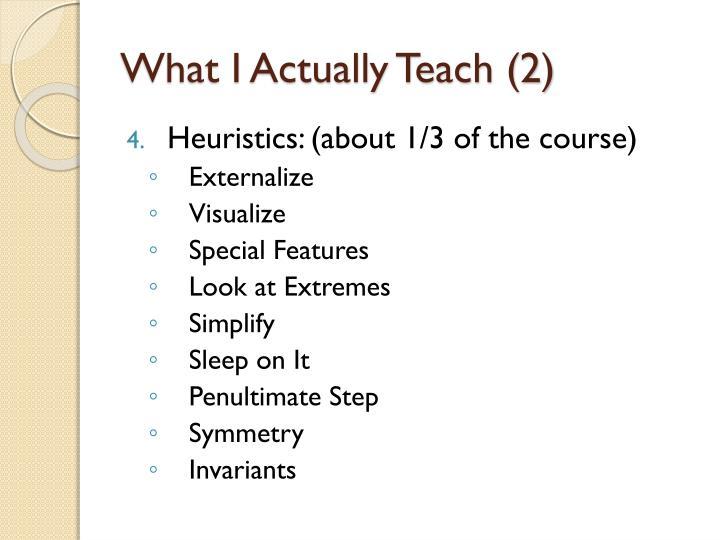 What I Actually Teach (2)