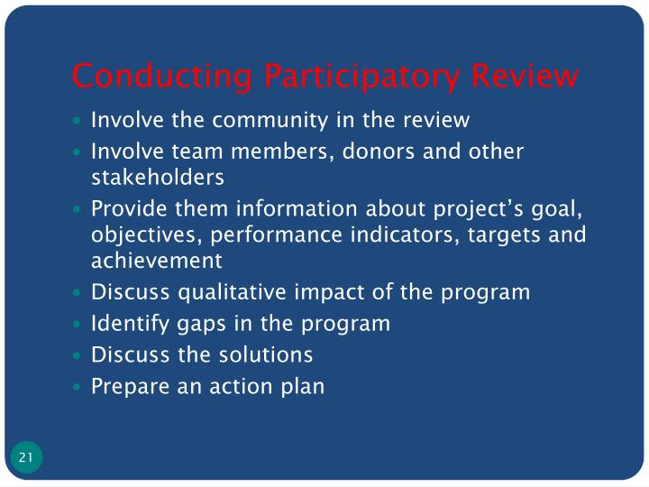 Conducting Participatory Review