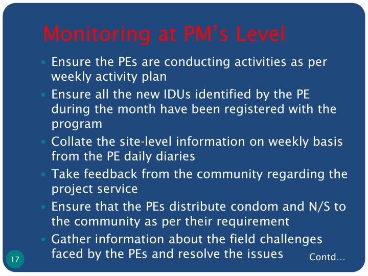 Monitoring at PM's Level