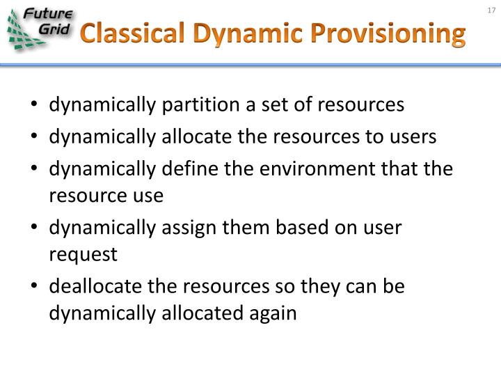 Classical Dynamic Provisioning