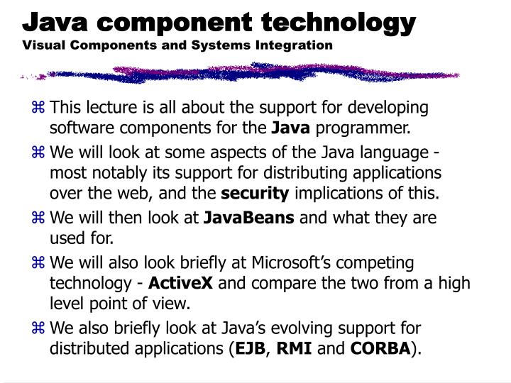 Java component technology visual components and systems integration