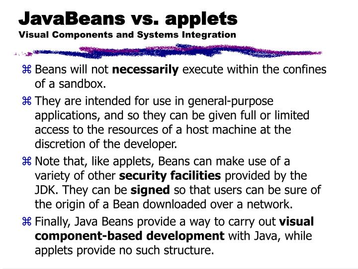 JavaBeans vs. applets