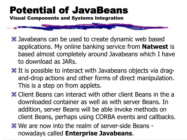 Potential of JavaBeans