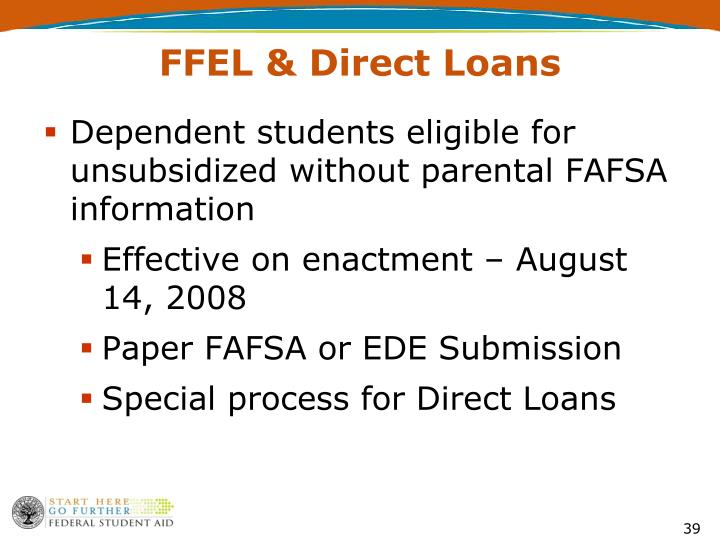 Dependent students eligible for unsubsidized without parental FAFSA information