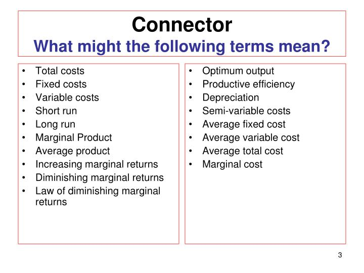 Connector what might the following terms mean