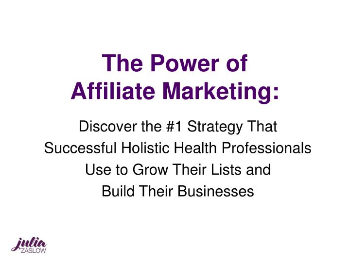 the power of affiliate marketing n.