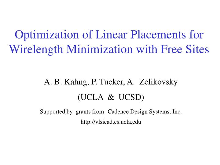 optimization of linear placements for wirelength minimization with free sites n.