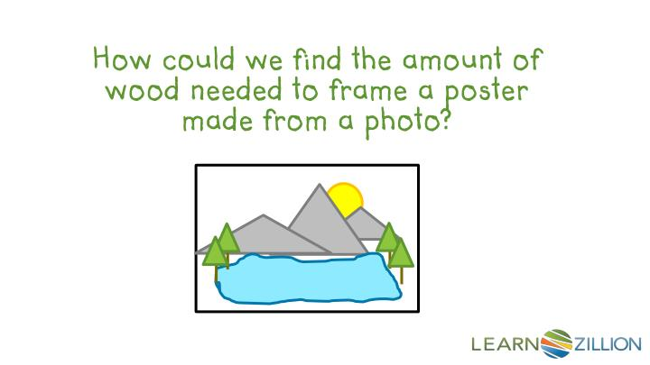 How could we find the amount of wood needed to frame a poster made from a photo?