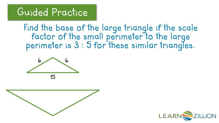 Find the base of the large triangle if the scale factor of the small perimeter to the large perimeter is 3 : 5 for these similar triangles.