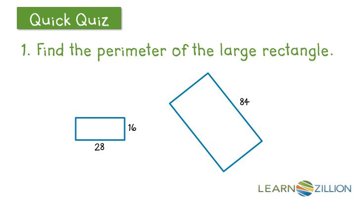 1. Find the perimeter of the large rectangle.