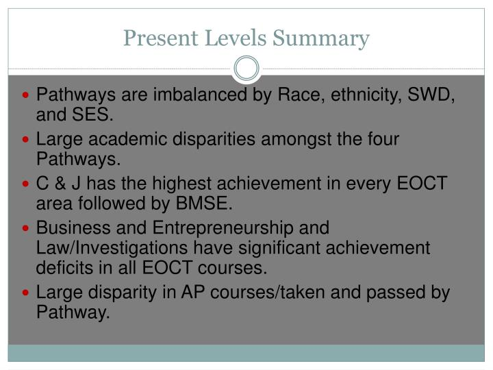 Present Levels Summary