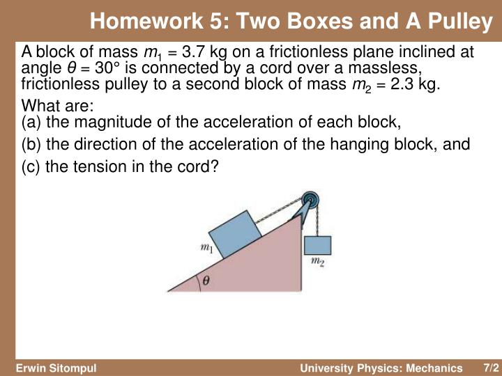 Homework 5 two boxes and a pulley