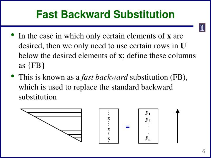 Fast Backward Substitution