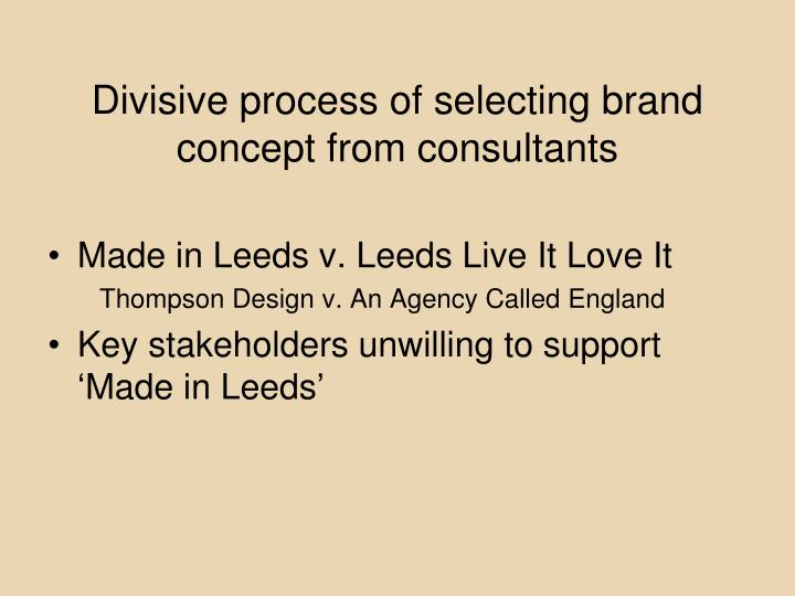 Divisive process of selecting brand concept from consultants