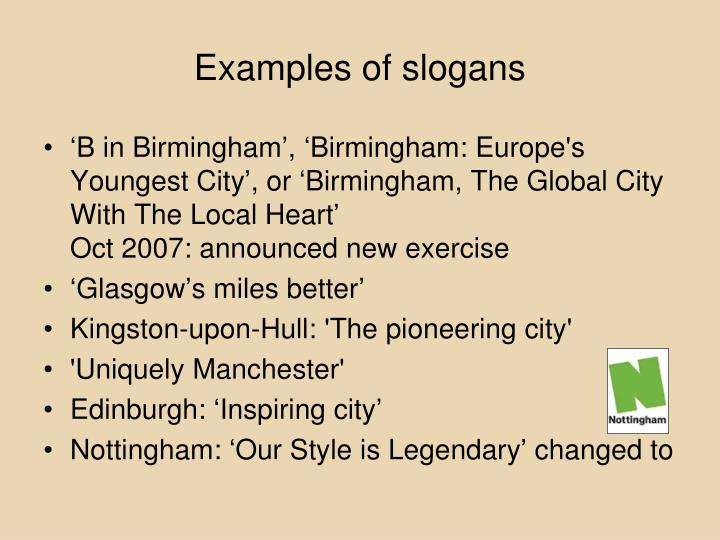 Examples of slogans