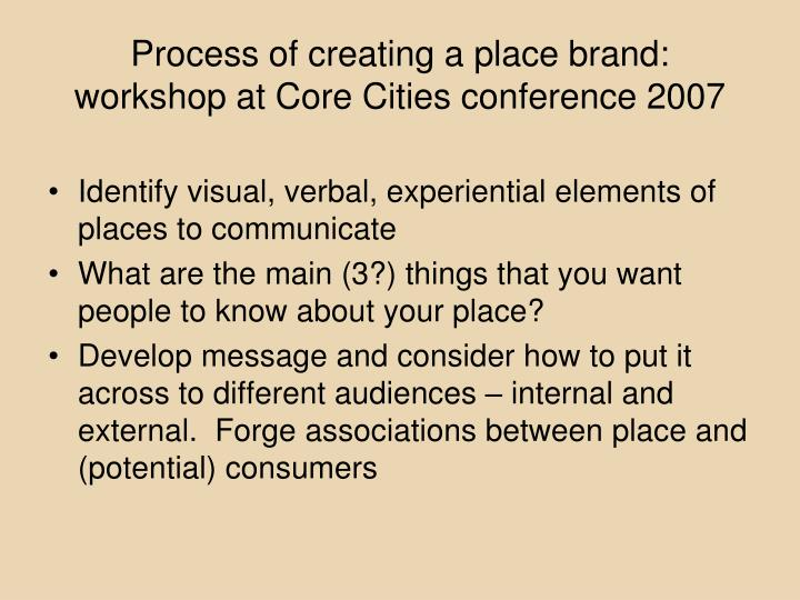 Process of creating a place brand: